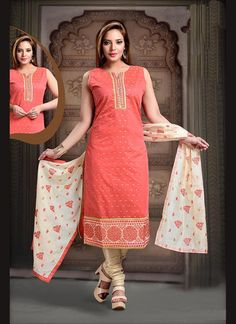 Buy Piquant Peach Embroidered Work Readymade Suit, Online #designersuits #readymadesuits