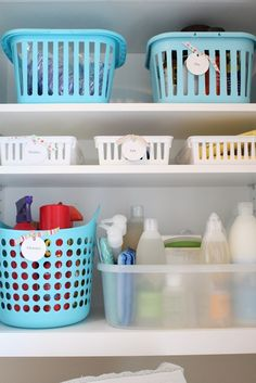 Laundry organization ideas - only use baskets if labeled