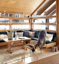 Cabin dream on Haglebu Small Tiny House, Tiny House Cabin, Cute Living Room, Cottage Interiors, Interior Design Inspiration, Outdoor Furniture Sets, Living Spaces, House Design, Home Decor