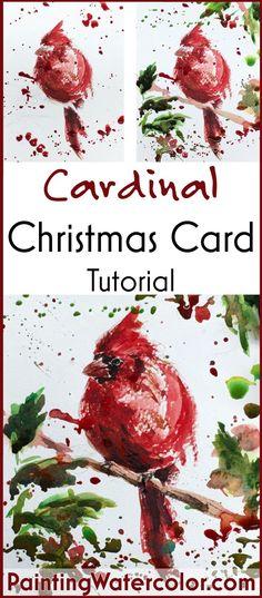 Learn to paint a cardinal Christmas Card!