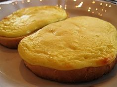 41. An Estonian breakfast – curd cheese on a wheat bloomer – known locally as 'cheese on toast'. The creamy topping can be supplemented with ricotta or fromage fraiche instead, if you prefer. Tänan Nami-Nami.