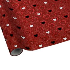 Lovely Love and Valentine's Day wrapping paper features red glitter print background patterned with red, white and black hearts. #valentines #day #valentines #day #wrapping #paper #heart #glitter #red #black #love #romantic #elegant #red #heart