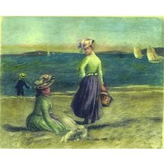 BY THE SEASIDE Hand Colored Etching in Colors after Renoir    This is a hand pulled color etching on Arches paper after an oil on canvas painting by world renowned artist Pierre-Auguste Renoir.