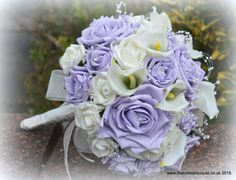 Lilac rose brides bouquet, calla and rose bridal bouquet, wedding flowers posy