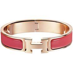Hermès Clic H Bracelet ($600) ❤ liked on Polyvore featuring jewelry, bracelets, enamel jewelry, rose jewellery, rose jewelry and enamel bangle