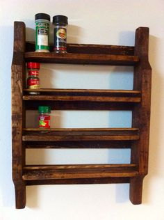 Pallet Wood Spice Rack. I want one for girlies polish and two for my craft room( thread and paint)