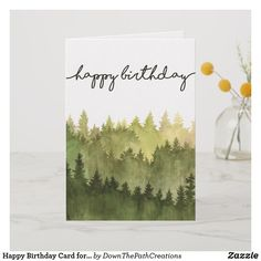 Happy Birthday Card For Him Watercolor Pine Trees Cardsfunny Cards