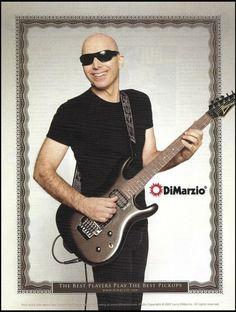 Joe Satriani DiMarzio Pickups on Ibanez Black Guitar 8 x 11 advertisement Gretsch, Ibanez, High Times Magazine, Dean Guitars, Joe Satriani, Guitar Magazine, Signature Guitar, Black Label Society, Joe Perry