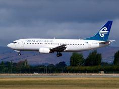 Air New Zealand 737 landing at Christchurch  Type: Boeing 737-3U3  Registration: ZK-SJC  Location: Christchurch International Airport  Date: 07/02/2012
