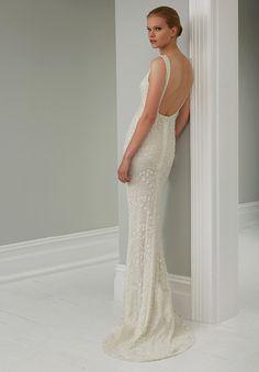 Low back beaded wedding dress. STEVEN KHALIL 2015 RTW COLLECTION
