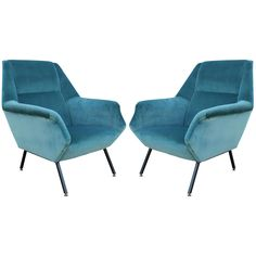 Pair of Fabulous Italian Lounge Chairs in Teal Velvet | From a unique collection of antique and modern lounge chairs at https://www.1stdibs.com/furniture/seating/lounge-chairs/