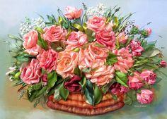 "picture "" Roses "",  Silk ribbon embroidery, roses, ribbonwork di SilkRibbonembroidery su Etsy"