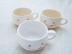 White kawaii cute face Mug Cup-fuwa by icecream_drops, via Flickr