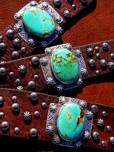 All of my favorite things in one cuff. Leather, Spanish cross, and turquoise!