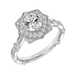 Vintage Inspired Diamond Engagement Ring with Multi-Shaped Milgrain Accented Diamond Halo | D. Geller and Son
