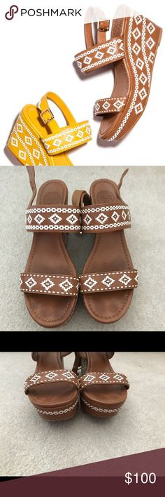 Tory Burch Cognac Tribal Reena Platform Wedge, 8.5 EUC Tory Burch Reena Platform Wedge in cognac tribal print! So cute! Bought off Posh but unfortunately didn't fit. My loss is your gain! Tory Burch Shoes Platforms
