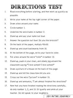FREE Directions Test - Prank - Prank meme - - Directions Test- this one's a classic! The post FREE Directions Test appeared first on Gag Dad. First Day Of School Activities, 1st Day Of School, Beginning Of The School Year, Listening Activities For Kids, Critical Thinking Activities, Middle School Tips, Middle School Teachers, School School, Future Classroom
