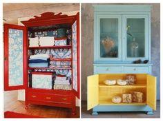Une armoire ancienne On en a d'abord une vision extérieure mais l'armoire est aussi un meuble amené à être ouvert régulièrement. Il ne faut donc pas hésiter à jouer sur le contraste extérieur-intérieur et sur les complémentaires de couleurs comme : du bleu canard avec du jaune, du vermillon associé au bleu turquoise, ou du prune juxtaposé à l'orange.