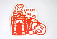 Derby Or Die Matryoshka Nesting Doll Roller Derby Helmet Vinyl Sticker Decal Skater skeleton dolls Russian on Etsy, $6.00