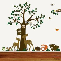 Nursery Vinyl Wall Decal Sticker Forest woodland animal,deer,fox,armadillo, squirrels with owls and birds. emailed to see if they will sell the animals separately for a cheaper price.  set w/ tree is $155