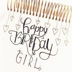Geburtstagskarte Glückwunschkarte Geburtstag Lettering Handlettering Happy Birthday Doodle Brushlettering Brushpen Glückwünsche