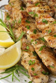 Lemon, Garlic and Rosemary Chicken Skewers