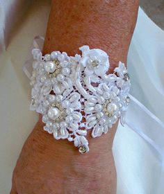 Vintage Inspired Bridal cuff bracelet or by reneeburroughsdesign, $85.00