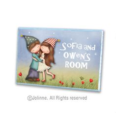 personalized door sign brother sister kids room by jolinne on Etsy, $19.00