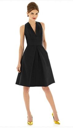 Alfred Sung - short deep v neck black bridesmaid dress