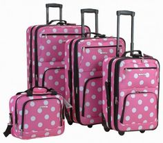 Rockland Luggage Dots 4 Piece Luggage Set, Pink Dots, One Size upright, tote Skate wheels Full lining Expandable Internal handle Pink Luggage, Cute Luggage, Luggage Sets, Travel Luggage, Travel Suitcases, Disney Luggage, Disney Travel, Vintage Luggage, Viajes