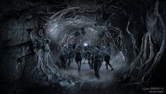 Concept art of the sixth season of Game of Thrones: attack at the ThreeEyedRaven cave (by Karakter design studio)
