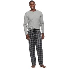 Men's Chaps Henley & Plaid Microfleece Lounge Pants Set, Size: Medium, Grey (Charcoal)