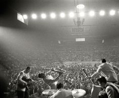 """April 1956. """"Bill Haley and the Comets and Laverne Baker performing at the Sports Arena in Hershey, Pennsylvania."""" From photos by Ed Feingersh for the Look magazine article """"The Great Rock 'n' Roll Controversy."""""""