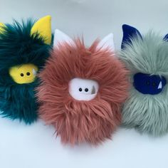 New faux fur means new Fuzzlings!  This trio is posing for pics and they are ready for adoption.  Visit me online to see where you can adopt a Fuzzling.
