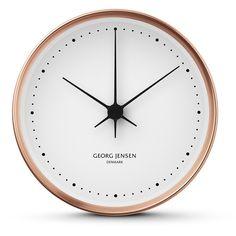 Georg Jensen Henning Koppel Clock - Copper/White - 22cm found on Polyvore featuring home, home decor, clocks, metallic, georg jensen, copper home decor, dial clocks, georg jensen clock and white home decor
