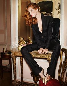 L'irrésistible sex-appeal du smoking: Alexina Graham by Marcus Pummer for Madame Figaro France 22nd November 2014