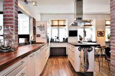 Swedish Kitchen with Exposed Brick Wall #design #interior #kitchen #decor #decoration #accessories #utensils #details #house #home #swedeninterior
