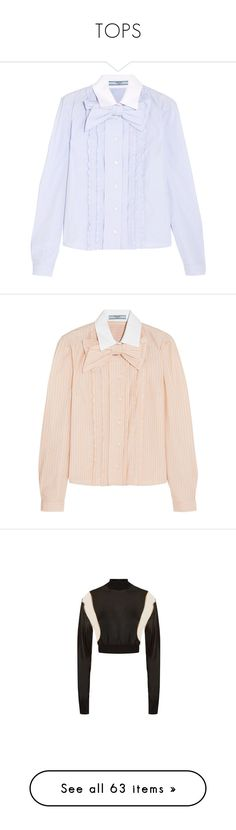 """""""TOPS"""" by aitanas-closet ❤ liked on Polyvore featuring tops, prada, shirts, sky blue, sky blue shirt, flutter-sleeve top, cotton shirts, ruffled shirt, boxy tops and peach"""