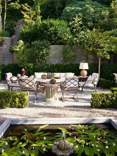 garden design Architecture porches - Designer Jean-Louis Deniot Reveals His Historic Los Angeles Abode Outdoor Rooms, Outdoor Living, Outdoor Furniture Sets, Outdoor Decor, Outdoor Seating, Outdoor Patios, Deck Furniture, Outdoor Kitchens, Metal Furniture