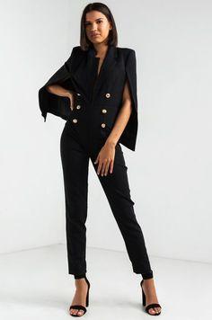 AKIRA Blazer Cape Back Shoulder Pad Plunging Neckline Jumpsuit in Black