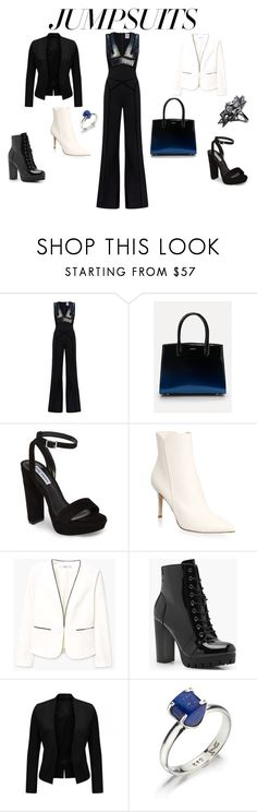 """This killer jumpsuit and purse are a match made in heaven"" by wisdomofo ❤ liked on Polyvore featuring Bebe, Steve Madden, Gianvito Rossi, MANGO, Boohoo, Lazuli, John Brevard, DateNight, jumpsuits and notyourdaughter"