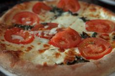 Pizza Margherita with Fresh Basil, Roma Tomatoes & Mozzarella