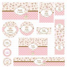Kits digitais Charme Papeteria - Ursinha Floral marrom e rosa