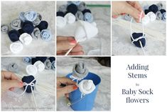 DIY Baby Socks Rose Flower Bouquet » Cool Creativity