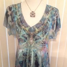 Embellished Top Different shades of blue embellished short sleeve top! EUC (A) Apt. 9 Tops