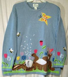 Quacker Factory Bunny Sweater 2X Blue Spring Easter Long Sleeve Plus Size Womens | eBay $59.99