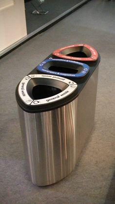 FinBin UK - Bermuda Triple - Designer indoor bin - For luxury market indoor spaces, triple aperture. Types Of Waste, Luxury Marketing, Waste Disposal, Recycling Bins, Galvanized Steel, Aperture, Indoor, Urban, Landscape