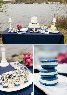 blue and white dessert table- must need blue macaroons