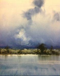 Watercolor - Herman Pekel (Australian, b. Watercolor Clouds, Watercolor Landscape Paintings, Watercolor Artists, Watercolor Techniques, Abstract Landscape, Watercolor Bird, Watercolor Portraits, Abstract Paintings, Abstract Oil