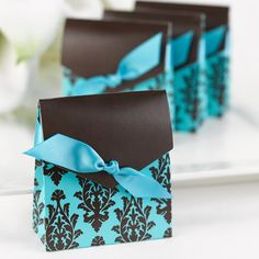 Aqua and Brown Flourish Favor Boxes - Favor Boxes - Favor Packaging - Wedding Favors & Party Supplies - Favors and Flowers